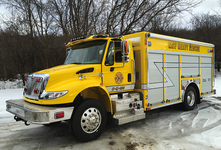 Malone, New York, took delivery of an E-ONE aluminum body nonwalk-in combination rescue/air truck on a two-door International chassis. It has a light tower and sports an all-yellow paint job.