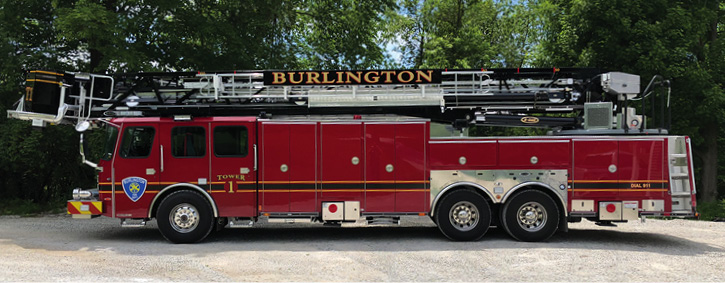Burlington, Vermont, Tower 1 is an E-ONE Cyclone II HPS 100 steel tower—a straight truck company (or ladder company) without a pump. Many New England departments stay with traditional single-function aerial devices—usually equipped with numerous ground ladders.