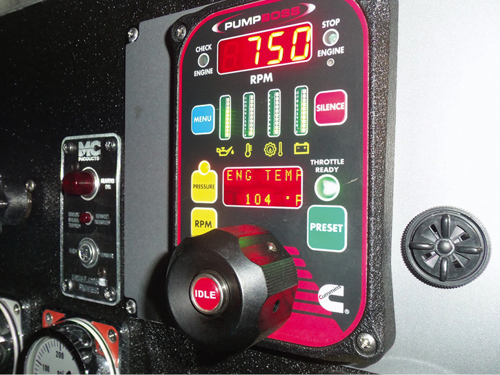 You need to scroll to various functions by pressing the menu button. These photos show the pump at idle and an engine temperature. Pressing the menu button will also display oil pressure, pump pressure, system volts, and other important data elements.