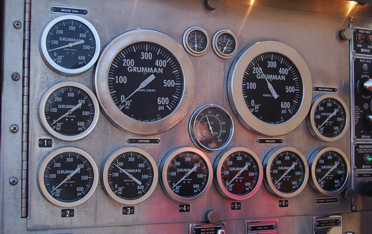 Older apparatus used analog type gauges. While the pump panels were primarily used for monitoring pump pressures (including incoming and master discharge pressures), there are several other gauges that need to be monitored during any pump operation. These include items such as oil pressure, water temperature, and fuel level.