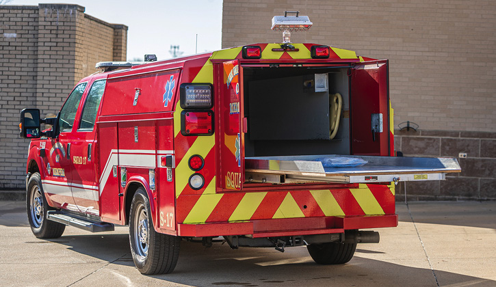 The Memphis ARV rigs have slide-out trays at the rear of the vehicle and compartmentation on each side.