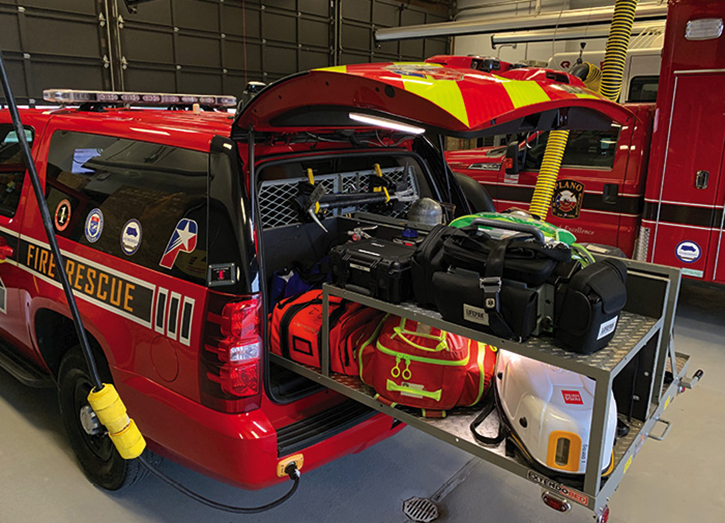 Plano's ARV squad runs to full arrests, major burns, motor vehicle accident rollovers, and other high-acuity incidents and also carries turnout gear, self-contained breathing apparatus, and firematic hand tools for its two-person paramedic firefighter crew.