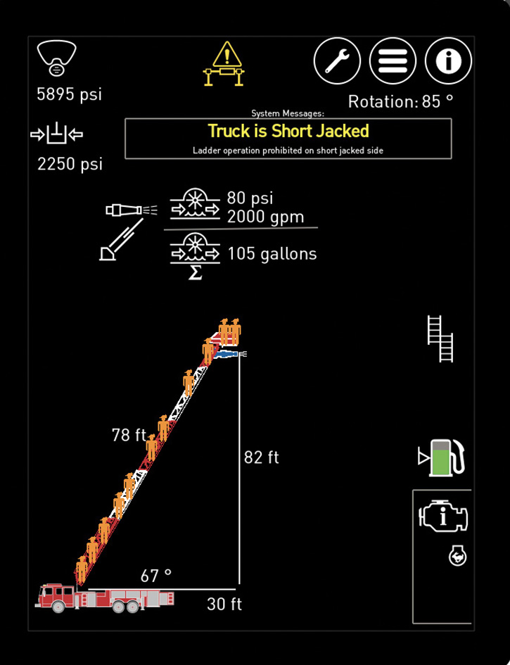This KME aerial touch screen shows the aerial in operation with the warning that the rig is short jacked. The aerial controls will prevent the ladder from operating on the short-jacked side.