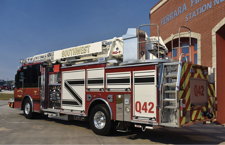 This HD-77 aerial ladder built by Ferrara Fire Apparatus for the Southwest Central (IN) Fire Territory uses two H-style rear jacks that can be set up as tight as 13 feet 2 inches.