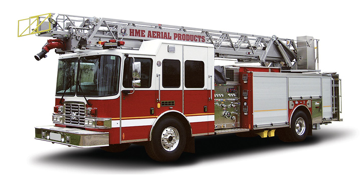 The HAF80L 80-foot aerial ladder made by HME Ahrens-Fox has a 14-foot jack spread using four H-style jacks.