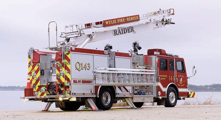 Rosenbauer built a 55-foot ACP with a jack spread of 11 feet 9 inches for the Wylie (TX) Fire Department.