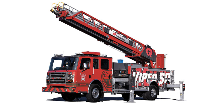 Rosenbauer's 100-foot SA Viper aerial has a 16-foot 6-inch jack spread on four H-style jacks and can be short jacked to 9 feet 9 inches.