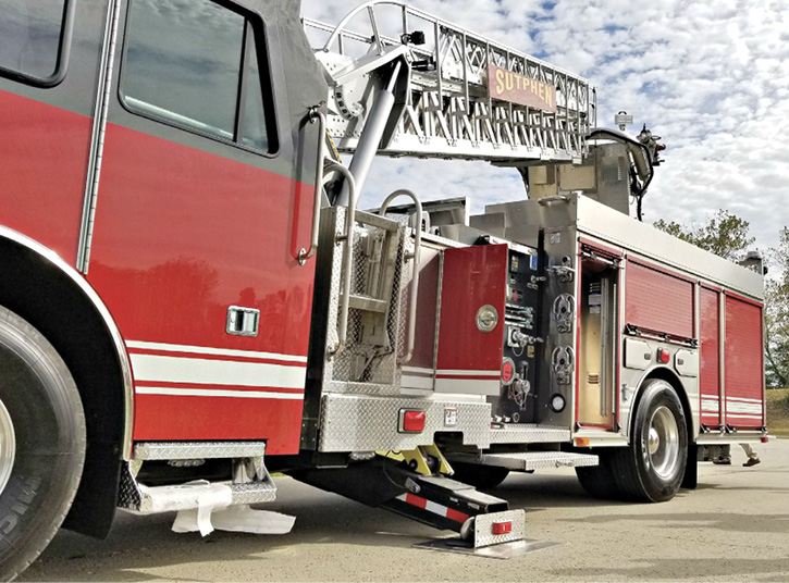 Sutphen Corp. builds the SP70 aerial ladder, which has a 16-foot jack spread.