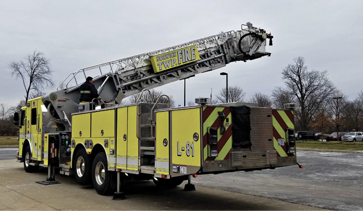 This SPH 100 aerial platform built by Sutphen for the Norwich Township (OH) Fire Department is shown operating short jacked from its normal 20-foot jack spread.