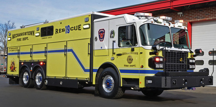 The Mechanicstown (NY) Fire Department heavy rescue with a Spartan Gladiator cab and chassis and Rescue 1 body.