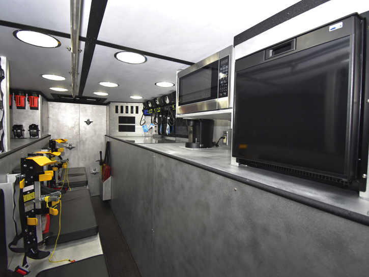 The interior command post with command board and radios.