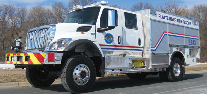Rosenbauer built this Type 3 wildland pumper for the Platte River (CO) Power Authority that carries a Rosenbauer NH-55 1,250-gpm pump and a FoamPro 2002 foam system.