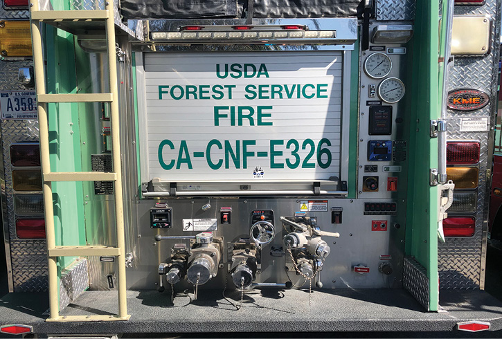This U.S. Forest Service Model 326/346 built by REV Group has a rear-mount pump panel housing a Hale CBP pump.