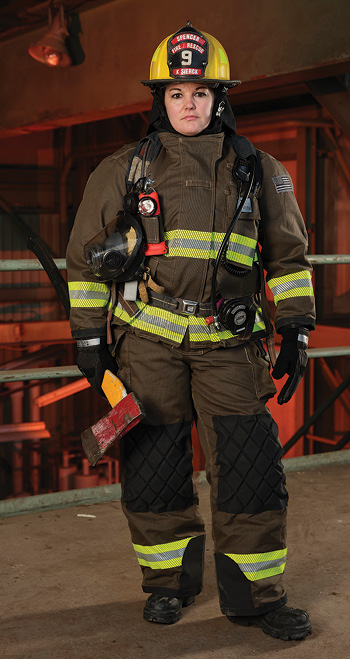Veridian makes turnout gear specifically designed for women in its Velocity (shown), Vanguard, and Valor lines.