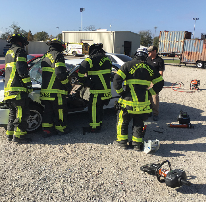 The Holmatro tools get a workout from a crew of Hillsborough County firefighters.