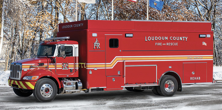 The Loudoun County (VA) rehab unit, built on a Peterbilt 348 chassis with a Pierce HDR body.