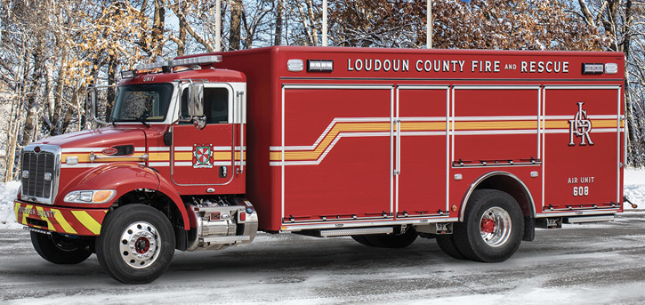 The air unit, built on a Peterbilt 348 chassis with a Pierce HDR body.