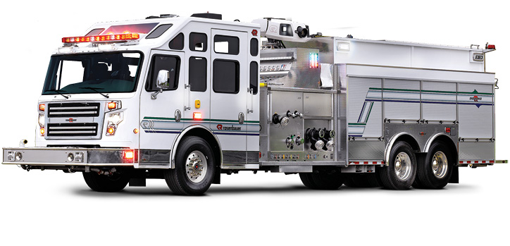 This Rosenbauer industrial pumper carries a Rosenbauer N130 3,500-gpm pump, 1,000-gallon dry chemical system, and 1,500-gallon water/foam tank.