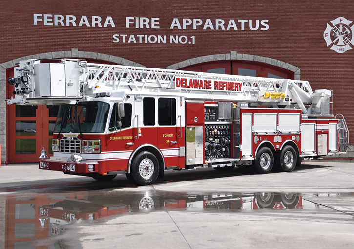 Ferrara Fire Apparatus built this 100-foot rear-mount industrial aerial platform for Delaware City (DE) Refining Company on an Inferno XMFD chassis and cab, powered by a 600-hp Cummins ISX15 diesel engine and an Allison 4000 EVS automatic transmission.