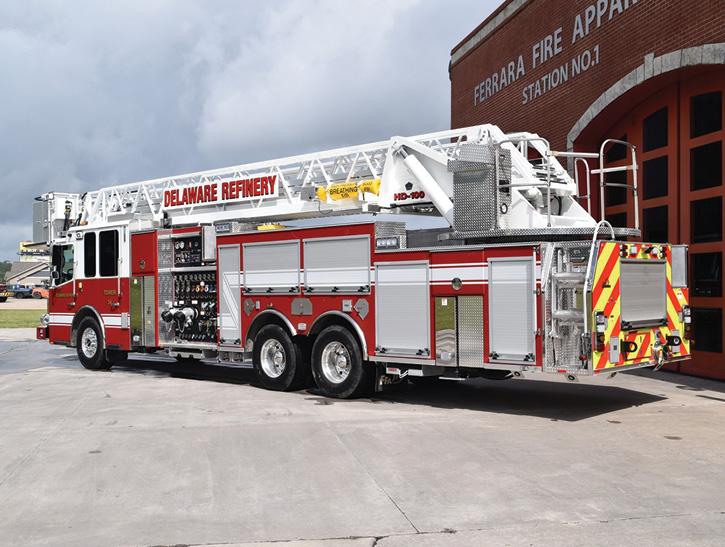 The industrial aerial platform has a Hale 8FG 3,000-gpm pump, a 400-gallon foam cell, and a Williams Hot Shot 2 300-gpm balanced pressure foam system.