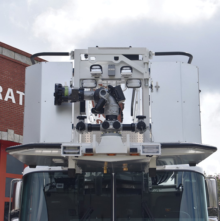 2,000-gpm Task Force Tips Monsoon monitor with a VUM is mounted at the front end of the platform.