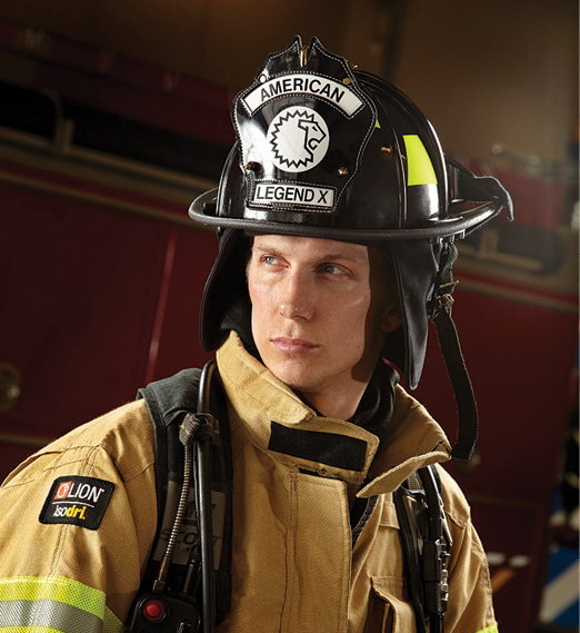 The American Legen fire helmet made by Lion weighs only 53 to 59 ounces, depending on the configuration.