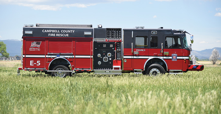 The rescue-pumper has a Hale ESP 2,000-gpm pump, an IDEX SAM water control system, a 750-gallon water tank, a 20-gallon Class A foam tank, a 30-gallon Class B foam tank, and a Hale SmartFOAM system.