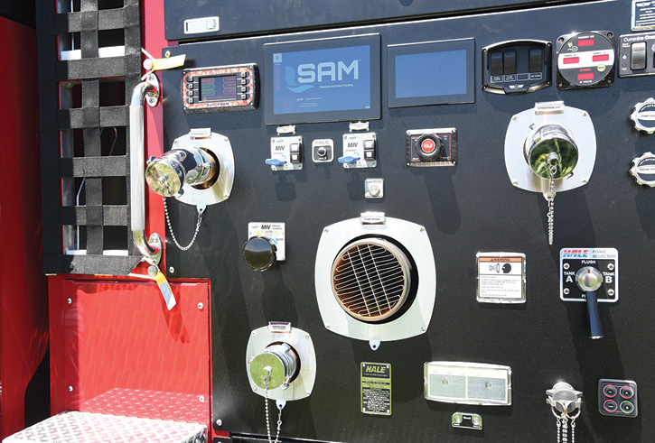 SAM controls are on the driver side and curbside pump panels.