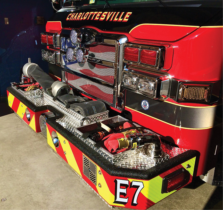 This engine carries one 25-foot length of 6-inch soft suction that is preconnected to the front intake and stored in the center tray. This enables the apparatus to easily position and quickly deploy the 6-inch soft suction sleeve.
