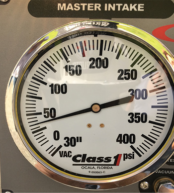 The residual intake pressure reading during the test where the 6-inch soft suction was hooked to the front intake.