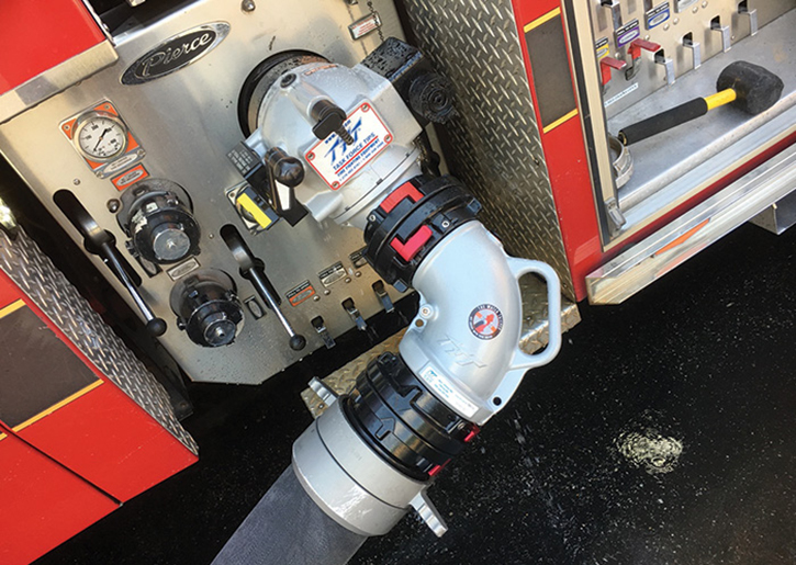 A 90-degree elbow helps to eliminate any kinking issues the operator may experience when trying to arc the supply line to the hydrant.
