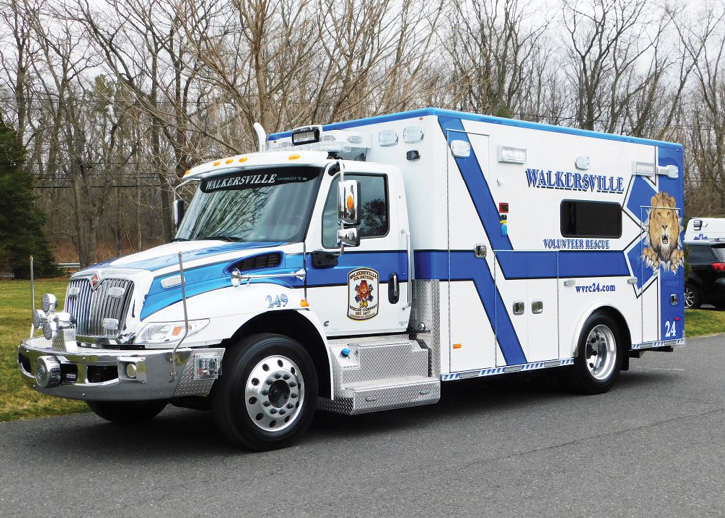 This Walkersville (MD) Volunteer Rescue Company ambulance built by PL Custom Body and Equipment Company has TecNiq LED spot/driving lights, a front-mount Roto Ray LED light, a Whelen Freedom IV Super-LED 55-inch light bar, a Whelen 4500 rear light bar, a Whelen traffic advisor, Whelen M series and ION series warning lights, and Power Arc LED-210-1 lights on the sides of the bumper extension.