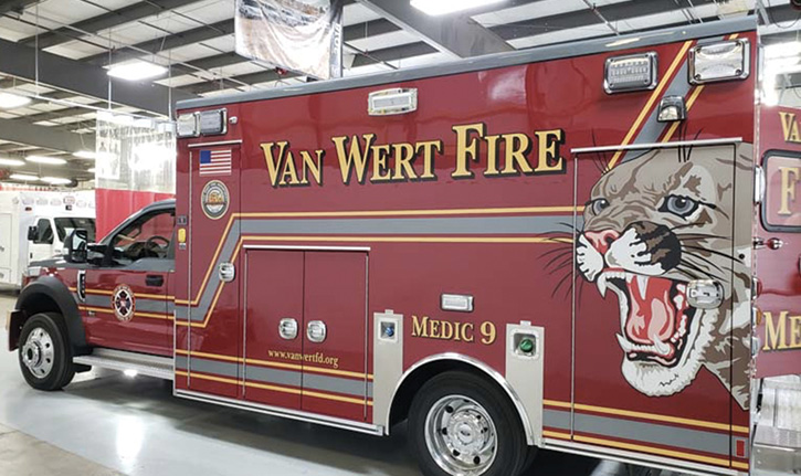 The Van Wert (OH) Fire Department had Braun Industries build this Type 1 ambulance with Whelen LED exterior lighting, including a Pioneer scene light in the center of the module on each side.