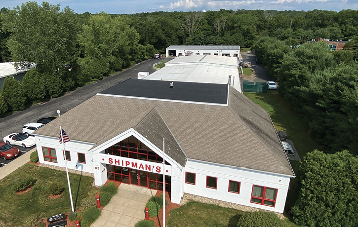 An overhead view shows the multiple additions made to the Shipman's facility. Several more apparatus service bays are presently under construction.