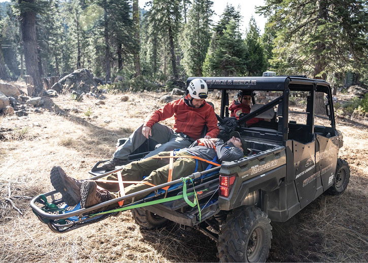 utte County (CA) Sierra Search and Rescue medics use a QTAC EMS-F EMS platform on a Polaris Ranger UTV to rescue an injured hiker.