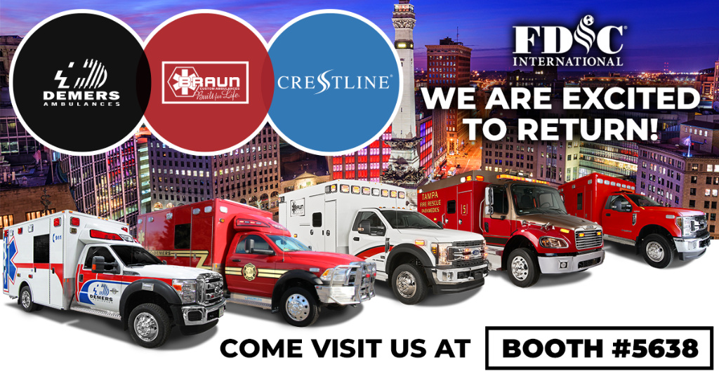 Demers Ambulances, Braun Ambulances, and Crestline Coach will unite in booth #5638 with several ambulance models and new innovations.