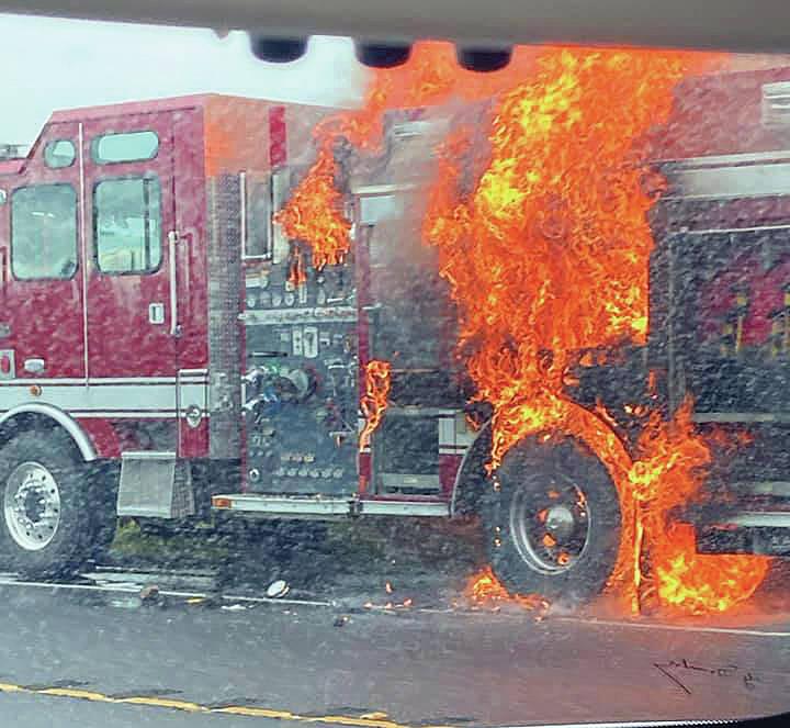 Pohakuloa (HI) Fire Truck Burns on Highway